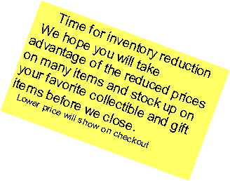 Text Box:   Time for inventory reduction